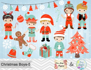 Christmas Boys Digital Clip Art, Teal Blue Orange Christmas Boys Clip Art, 00219