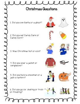 Christmas Break Questions with Pictures!