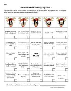Christmas Break Vacation Reading Log BINGO