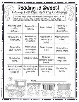 School Break / Holiday Reading Homework Challenges: Christmas and Winter Breaks