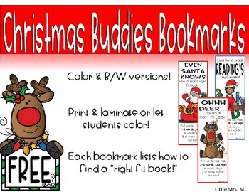 Christmas Buddies Bookmarks with Right Fit Book Guide