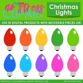 Christmas Light Bulbs Clip Art (Digital Use Ok!)