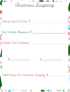 Christmas Budget and Price Comparison Worksheets for Kids