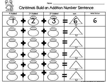 Christmas Build 3 Addend Addition & Subtraction Number Sentences
