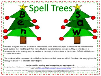 Christmas Build A Tree for Names or Reading Words