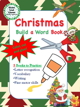 Christmas Build a Word Book - Color, Cut and Glue Activity