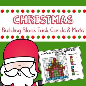 Christmas Building Block Mats and Task Cards