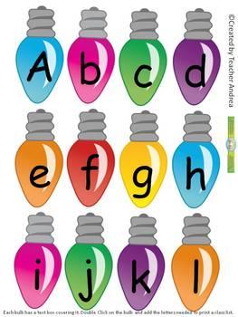 Christmas Bulbs Name/Letter Sort