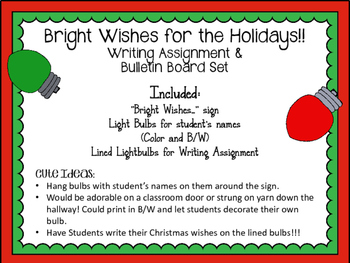 Christmas Bulletin Board and Writing Assignment. My Wish for the Holiday