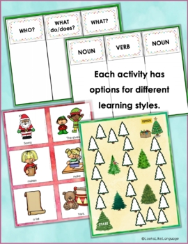 Christmas Sentence Bundle- Sentence Building, Categories and Compare/Contrast