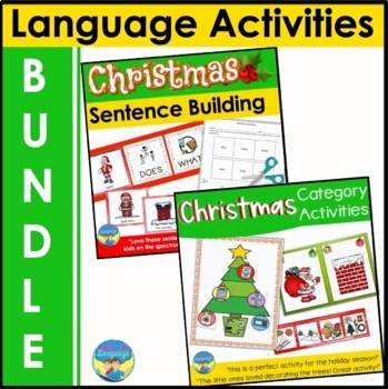 Christmas Language Activities Differentiated instruction Sentence Bundle