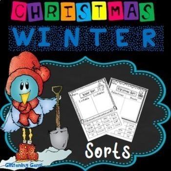 First Grade Literacy and Math Bundle - Christmas Winter Theme