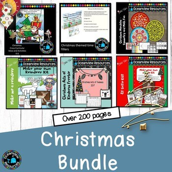Christmas unit of work, math and literacy activities (bundle)