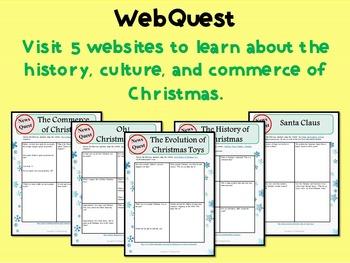 Christmas Bundle- Creative Writing Picture Prompts, WebQuest, Bingo