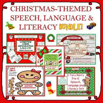 Christmas-Themed Speech, Language & Literacy Bundle! Pre-K to 3rd Grade