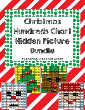 Christmas Hundreds Chart Hidden Picture Bundle Place Value