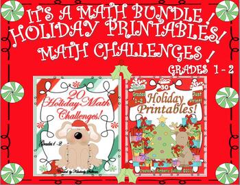 Christmas Bundle! Math Printables and Challenges! Grades 1 - 2