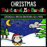 Christmas Bundle - Special Education - Life Skills - Print & Go - Math - ELA