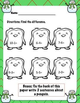 Winter Subtraction Worksheets