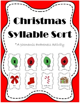 Christmas Bundle {Syllables, Beginning Sounds, Letter Matching}