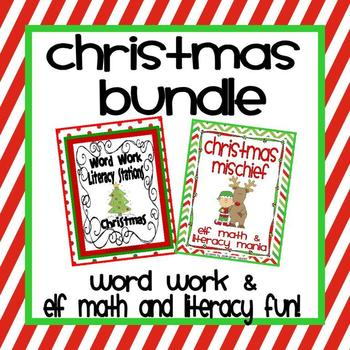 Christmas Bundle: Word Work and Elf Literacy and Math Fun!