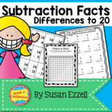 Subtraction Facts:  0-20 - Flash Cards, Tracking, Timed Te