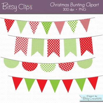 Christmas Bunting Clipart Digital Art Set Red Green Banner Flag