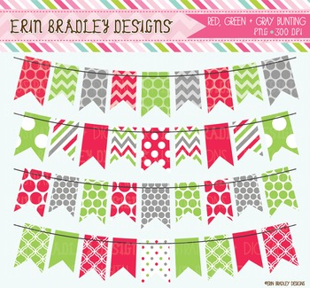 Christmas Bunting Clipart - Red Green & Gray Holiday Graphics