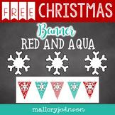 Red and Aqua Christmas Banner FREEBIE