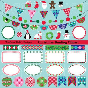 Christmas Bunting Labels Washi Clipart