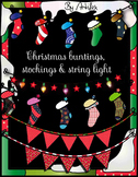 Christmas Buntings, Stockings & String Lights clip art set