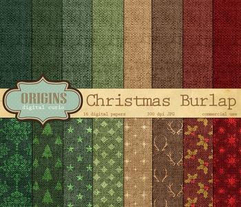 Christmas Burlap Digital Paper Scrapbook Backgrounds