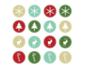 Christmas Button Clipart, Christmas, Clipart Set #168