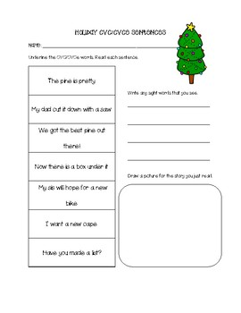 Christmas CVC & CVCe Sentences Packet - No Prep