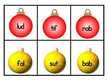 Christmas CVC Nonsense Word Fluency Game