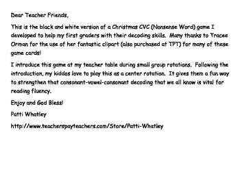 Christmas CVC Nonsense Word Fluency Game Black & White