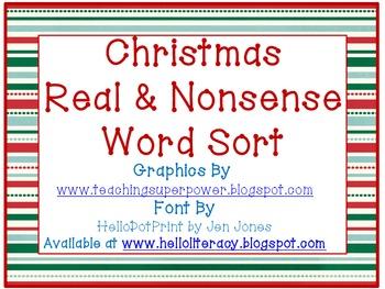 Christmas CVC Real & Nonsense Word Sort