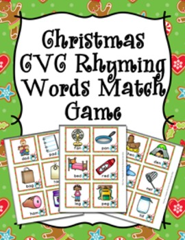 Christmas CVC Rhyming Words Match Game