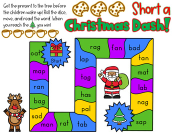 Christmas CVC Short Vowel Board Games