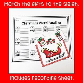 Christmas CVC Word Family Match Activity