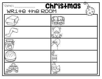 Christmas CVC Write the Room