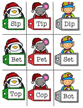 Christmas CVC word family sort