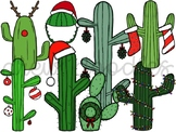 Christmas Cacti Digital Clip Art Set