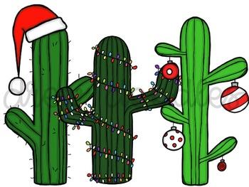 Christmas Cacti Digital Clip Art Set