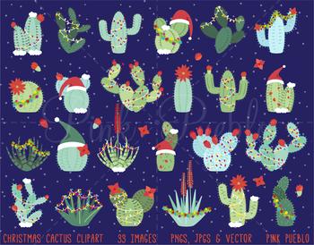 Christmas Cactus Clipart, Christmas Cactus Clip Art, Succulent Clipart