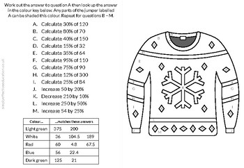 Christmas Calculated Coloring (Percentages of Amounts)