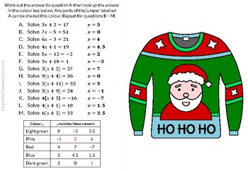 Christmas Calculated Coloring (Solving Equations)