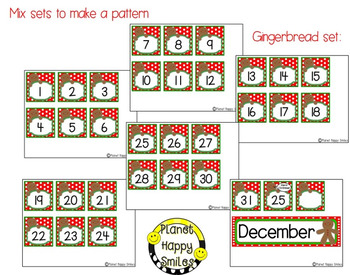 Christmas Activity ~ Calendar: Christmas ~ Number Order 1-31 ~ 3 sets