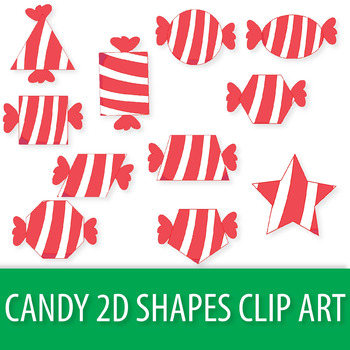 Christmas Candy 2D Shapes Clipart, 2D Shapes Christmas Clip Art