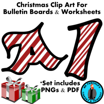 Christmas Candy Cane Bulletin Board Letters And Numbers Clip Art